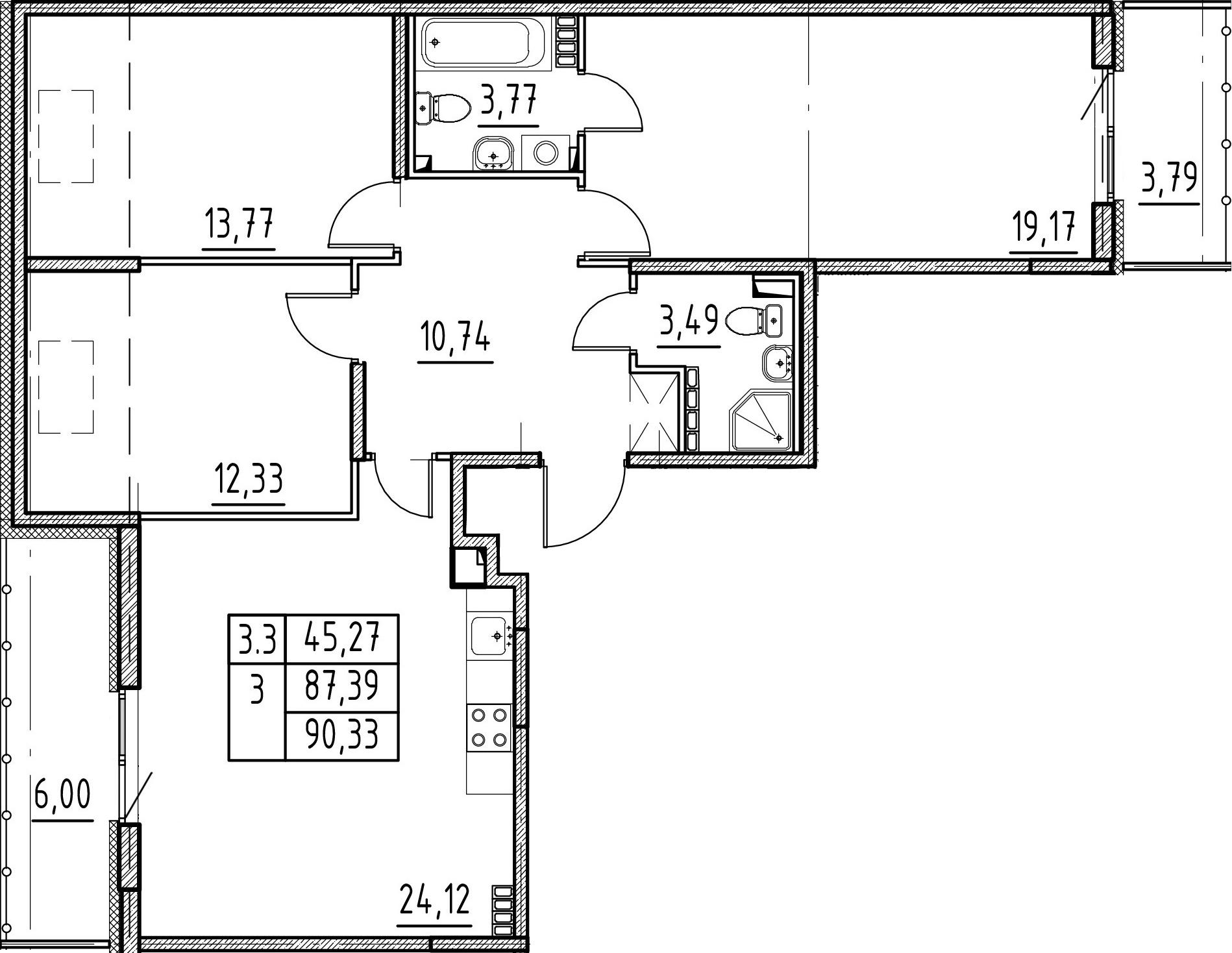 4-комнатная 97 м<sup>2</sup> на 5 этаже
