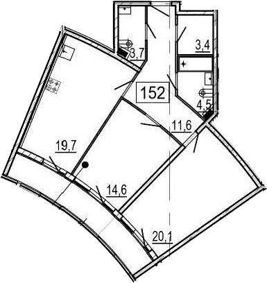3-комнатная 88 м<sup>2</sup> на 2 этаже