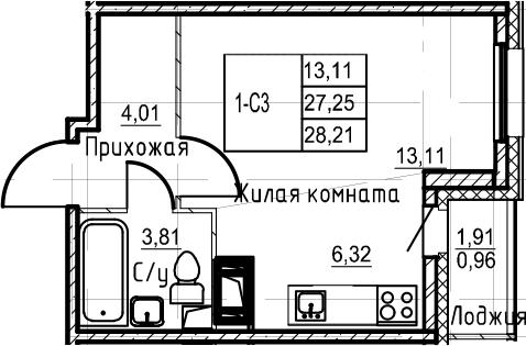 Студия 29 м<sup>2</sup> на 17 этаже