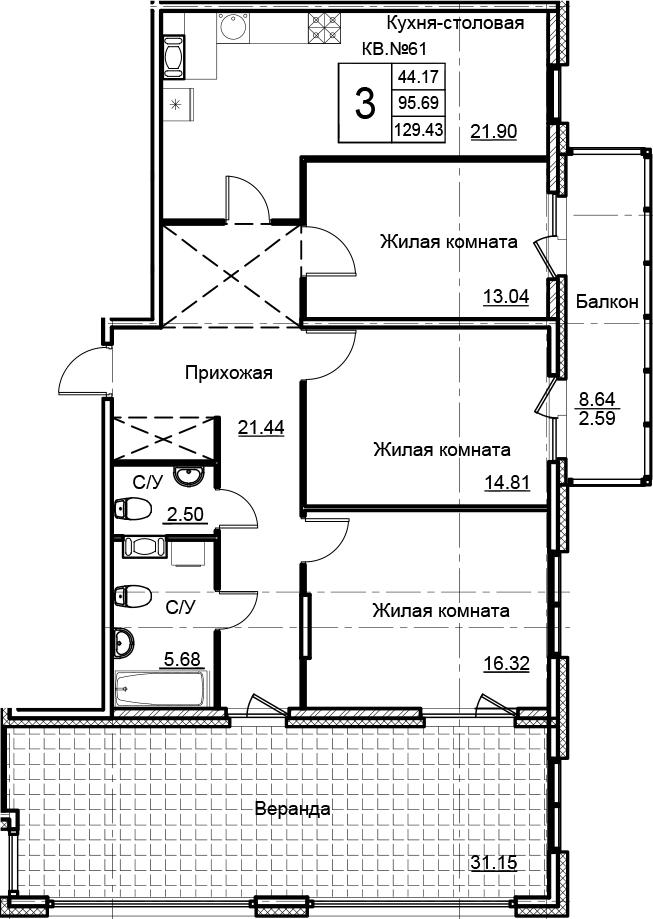 4-комнатная 135 м<sup>2</sup> на 15 этаже