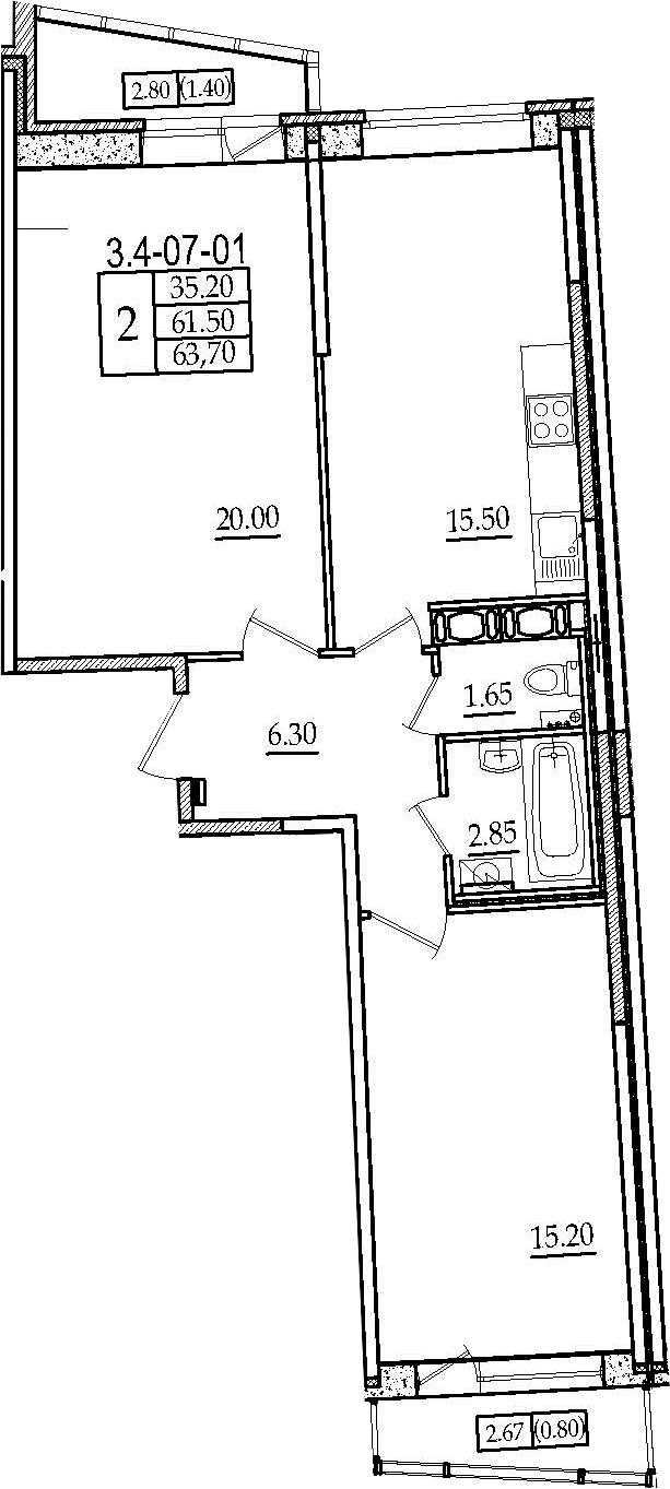 3-комнатная 66 м<sup>2</sup> на 7 этаже