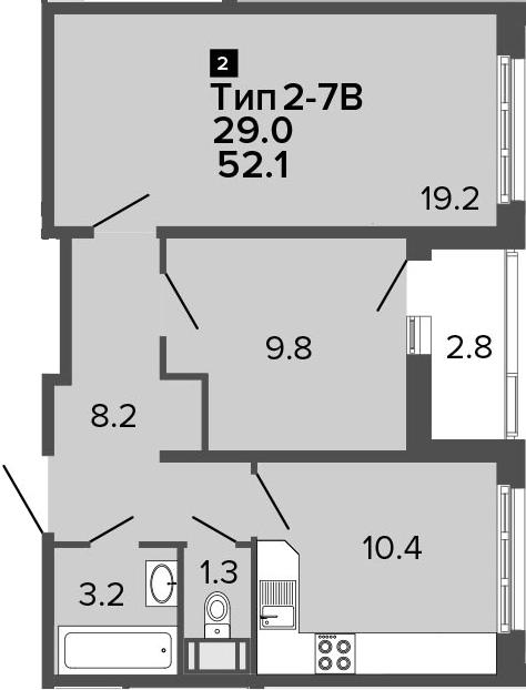 2-комнатная 54 м<sup>2</sup> на 15 этаже