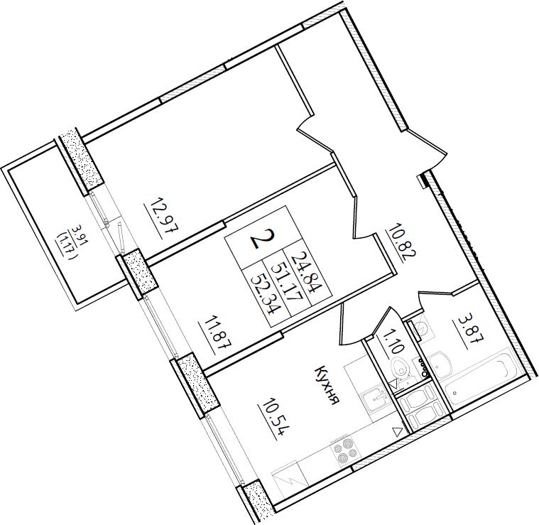 2-комнатная 55 м<sup>2</sup> на 2 этаже