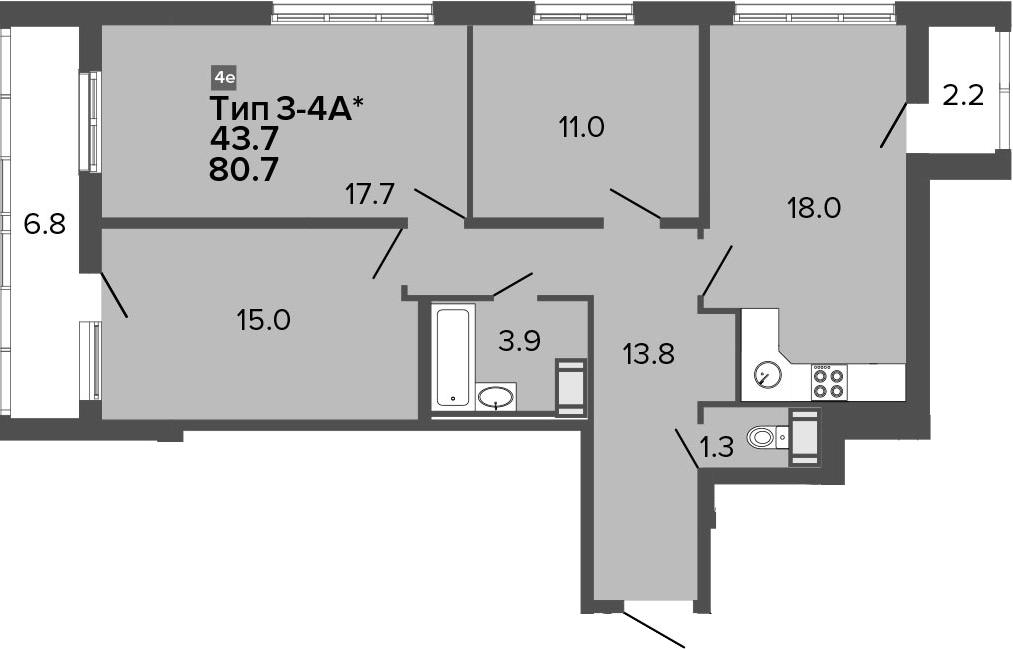4-комнатная 89 м<sup>2</sup> на 15 этаже