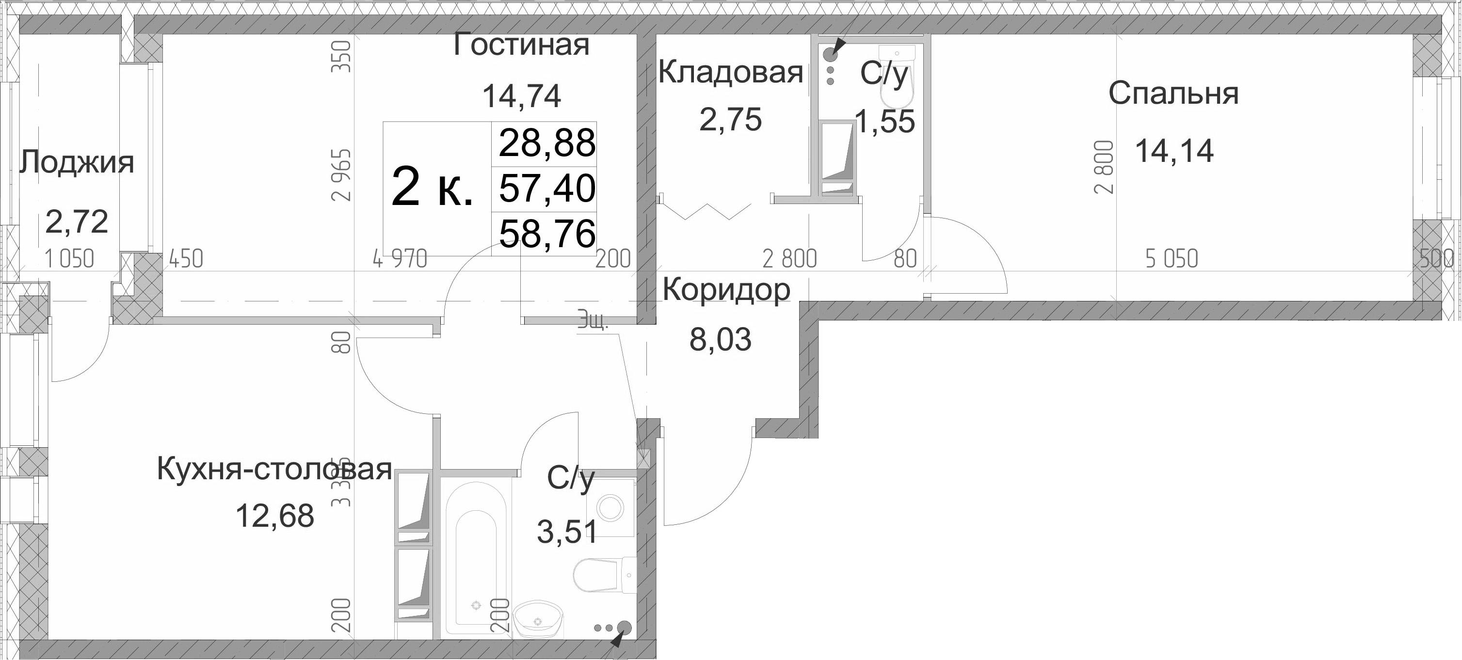 2-комнатная 60 м<sup>2</sup> на 13 этаже
