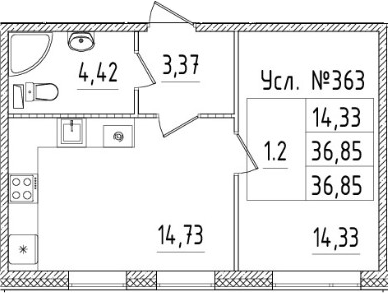 2-комнатная 36 м<sup>2</sup> на 1 этаже