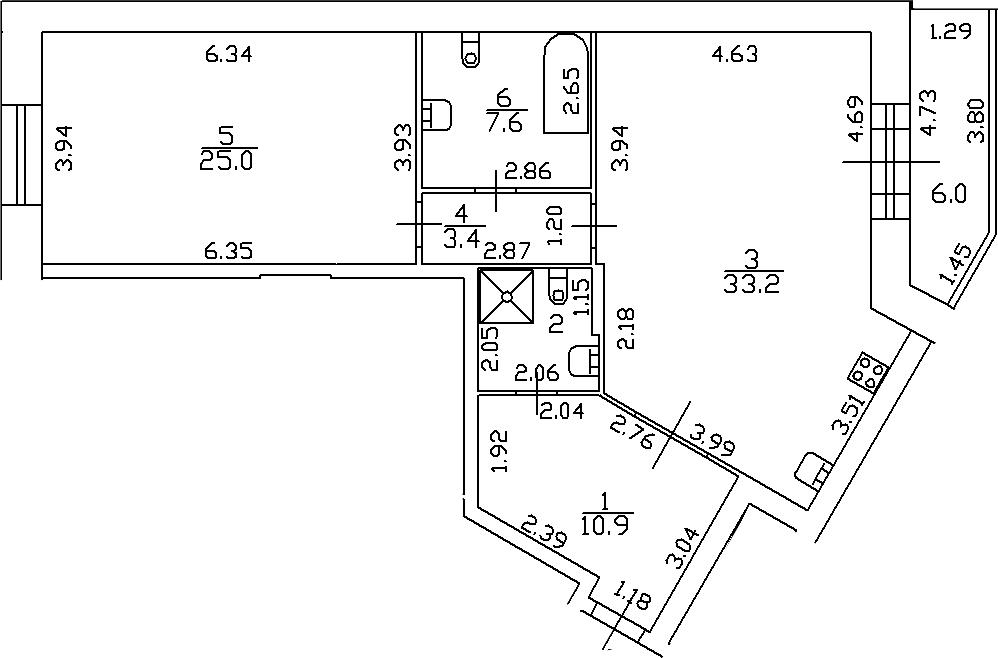 2-комнатная 90 м<sup>2</sup> на 10 этаже