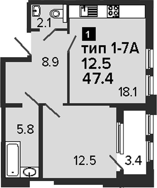 1-комнатная 50 м<sup>2</sup> на 2 этаже