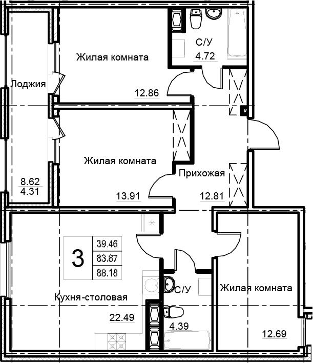 4-комнатная 92 м<sup>2</sup> на 7 этаже