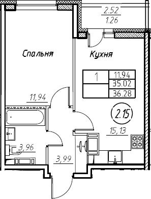2-комнатная 37 м<sup>2</sup> на 16 этаже