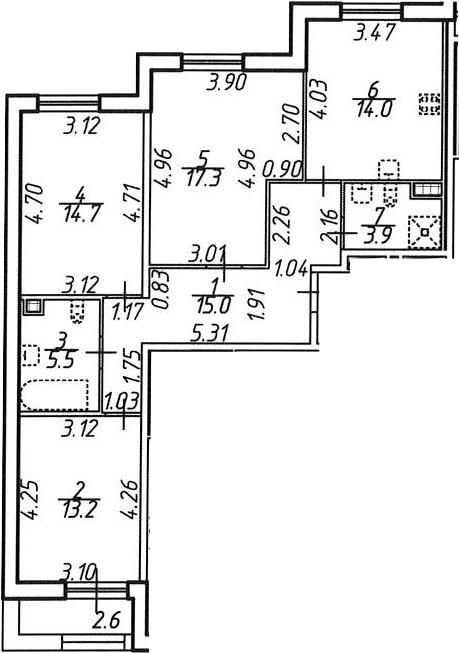 3-комнатная 86 м<sup>2</sup> на 8 этаже