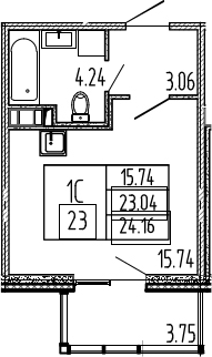 Студия, 26.79 м²