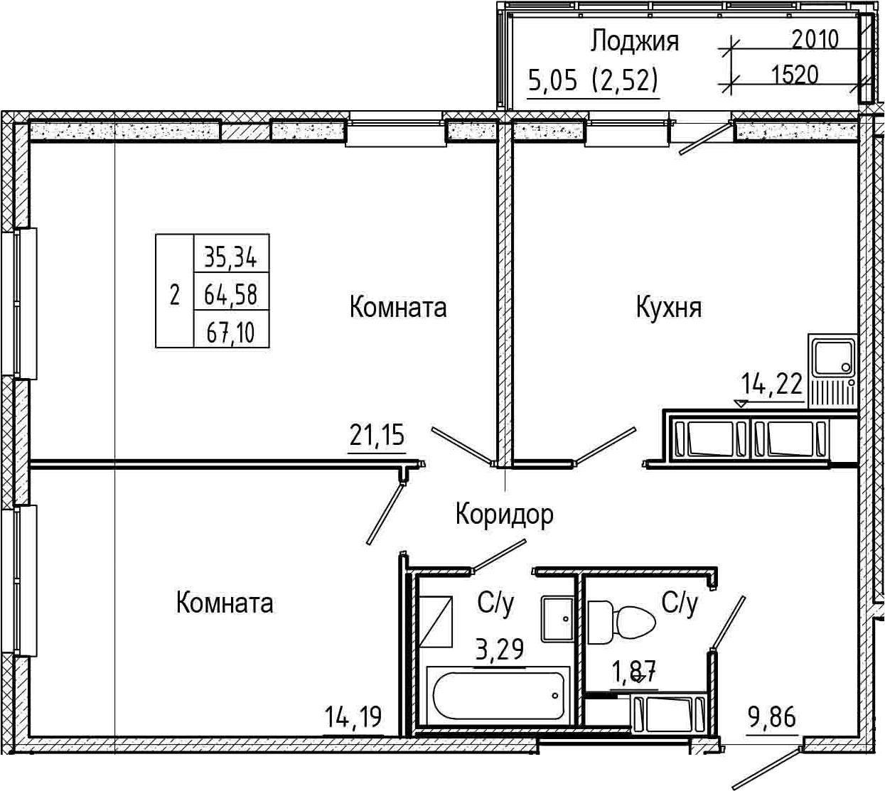 2-комнатная 69 м<sup>2</sup> на 17 этаже