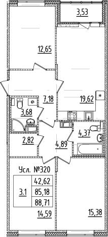 4-комнатная 88 м<sup>2</sup> на 9 этаже