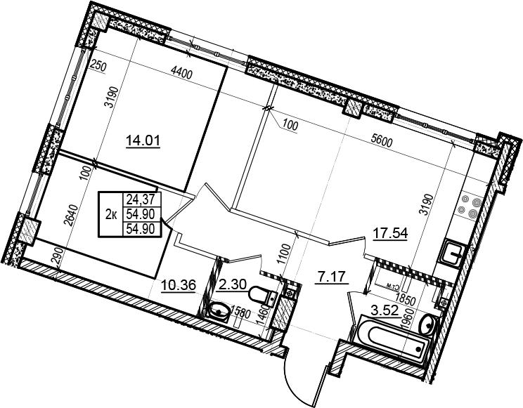 3-комнатная 54 м<sup>2</sup> на 2 этаже
