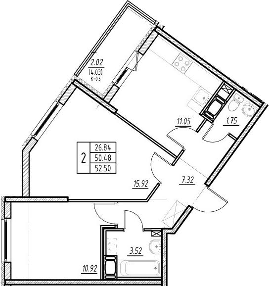 2-комнатная 54 м<sup>2</sup> на 6 этаже