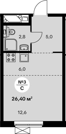 Студия 26 м<sup>2</sup> на 21 этаже
