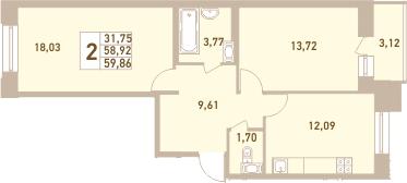 2-комнатная 62 м<sup>2</sup> на 5 этаже