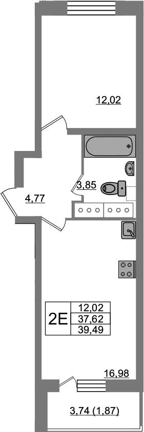 2-комнатная 41 м<sup>2</sup> на 23 этаже