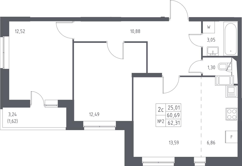 3-к.кв (евро), 63.93 м²