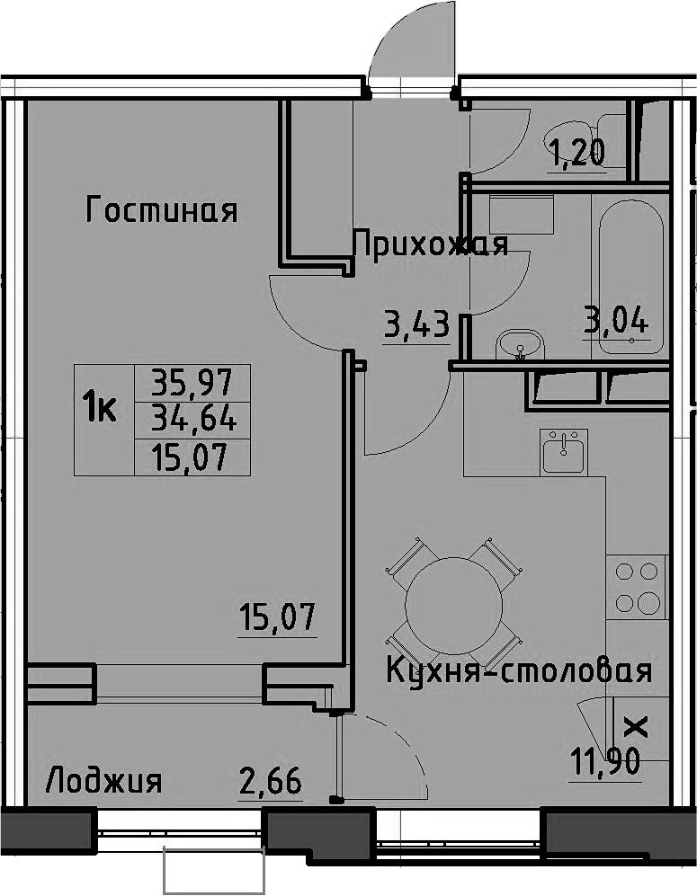 1-комнатная 37 м<sup>2</sup> на 13 этаже