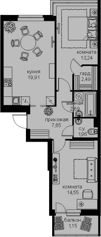 3-к.кв (евро), 66.32 м²