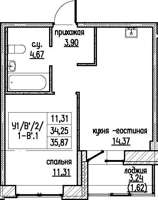 2-комнатная 37 м<sup>2</sup> на 2 этаже