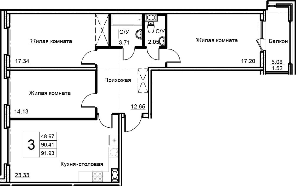 4-комнатная 95 м<sup>2</sup> на 10 этаже