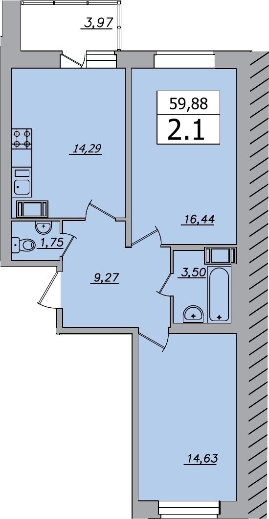 2-к.кв, 63.85 м²