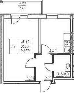 1-к.кв, 35.19 м²