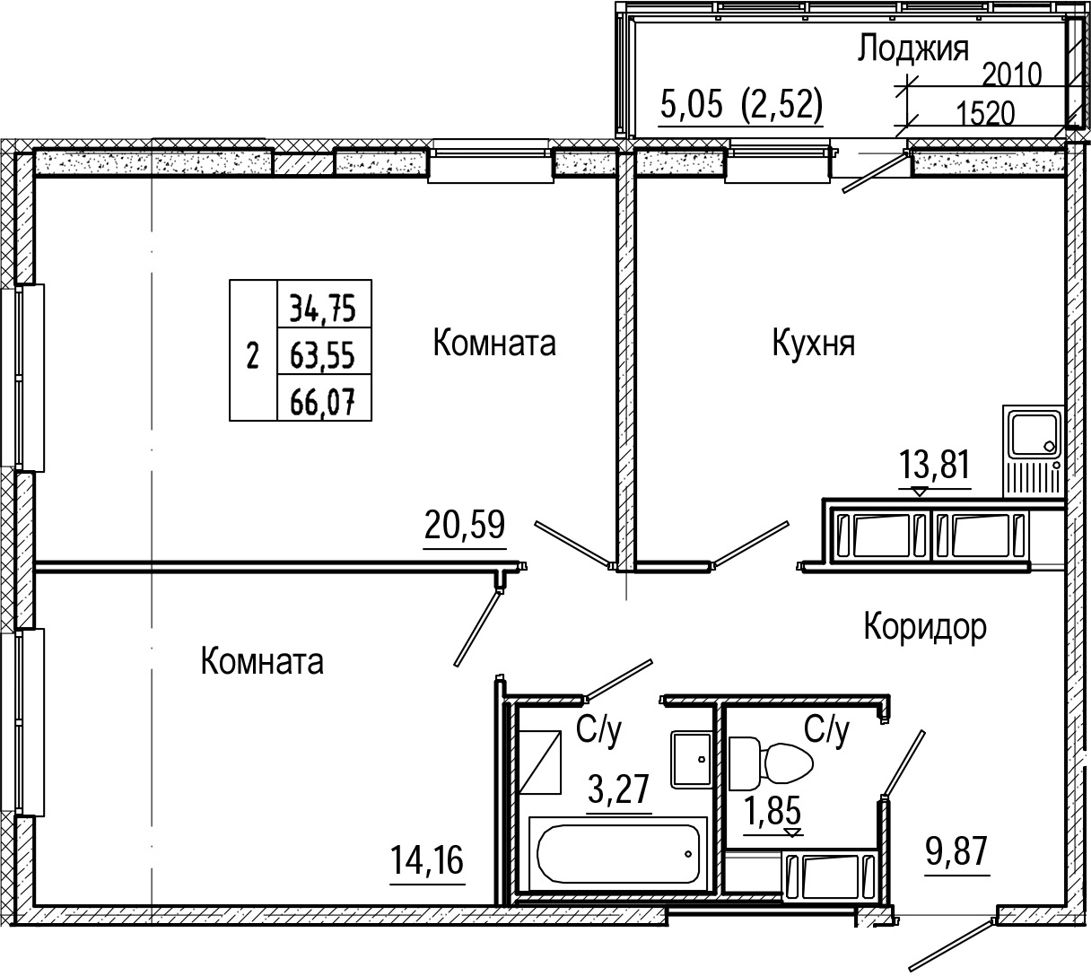 2-комнатная 68 м<sup>2</sup> на 19 этаже