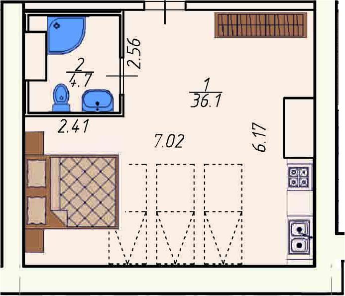 Студия 40 м<sup>2</sup> на 5 этаже