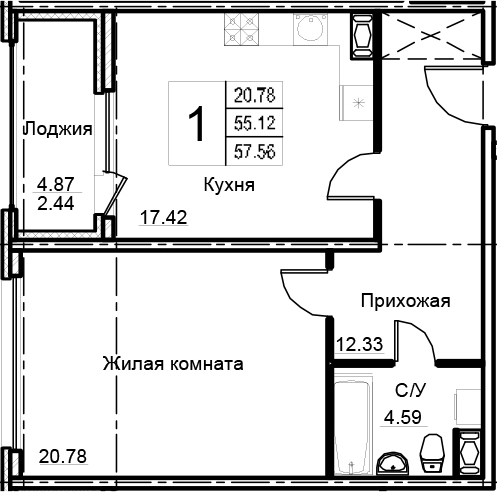 2-комнатная 60 м<sup>2</sup> на 10 этаже