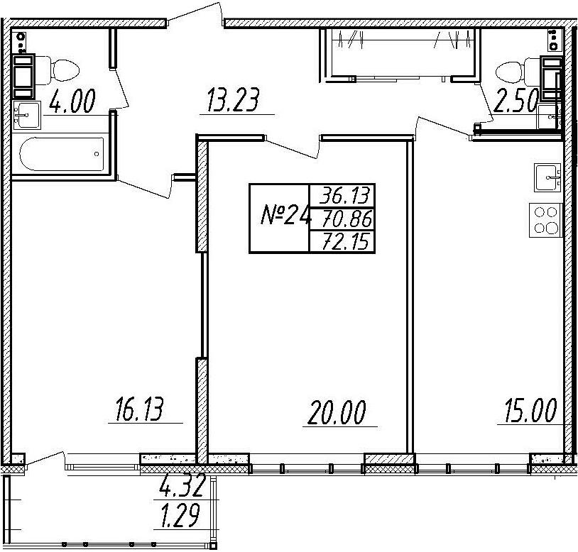 3-комнатная 75 м<sup>2</sup> на 8 этаже