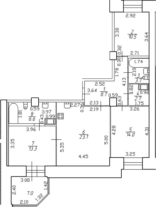 4-комнатная 89 м<sup>2</sup> на 3 этаже