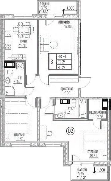 3-комнатная 88 м<sup>2</sup> на 12 этаже