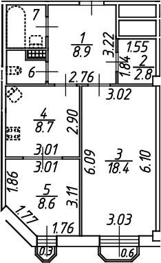 2-комнатная 53 м<sup>2</sup> на 7 этаже
