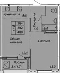 2-комнатная 42 м<sup>2</sup> на 11 этаже