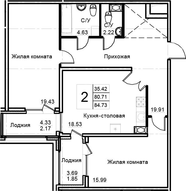 2-комнатная 88 м<sup>2</sup> на 7 этаже