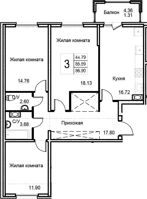 3-комнатная 89 м<sup>2</sup> на 5 этаже