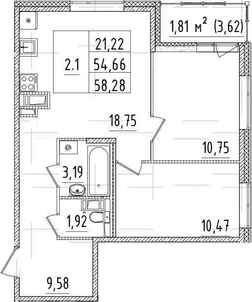 3-комнатная 58 м<sup>2</sup> на 9 этаже