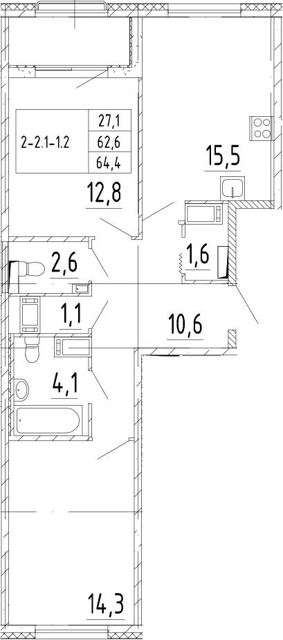 3-комнатная 66 м<sup>2</sup> на 3 этаже