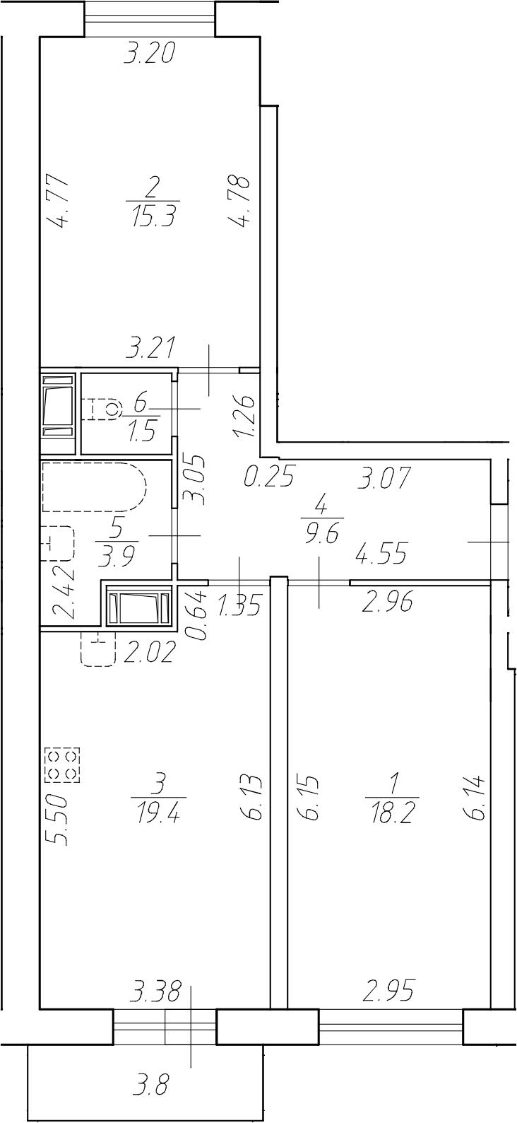 3-комнатная 71 м<sup>2</sup> на 3 этаже
