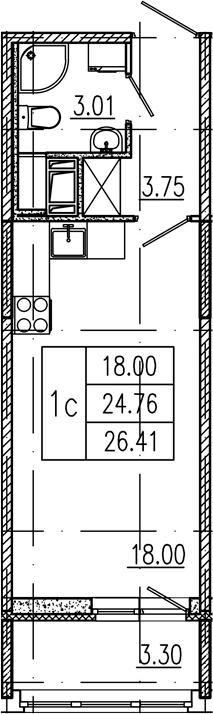 Студия 28 м<sup>2</sup> на 12 этаже