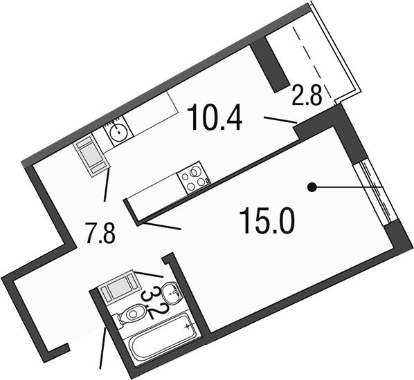 1-комнатная 39 м<sup>2</sup> на 17 этаже