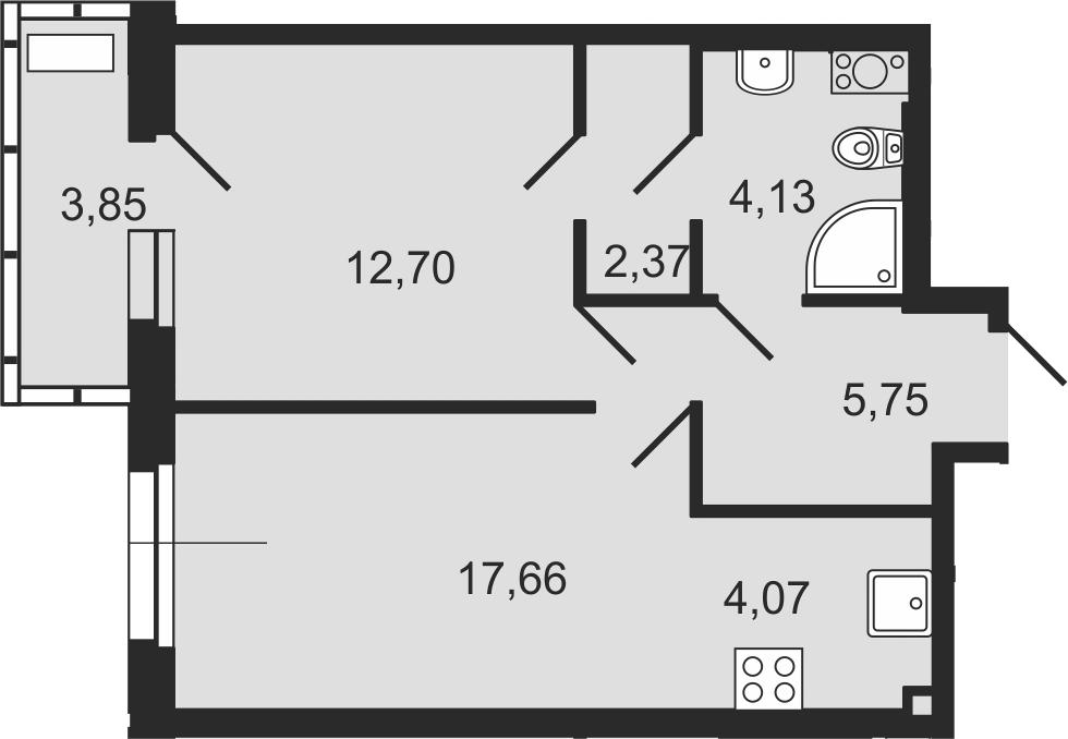2-комнатная 46 м<sup>2</sup> на 5 этаже