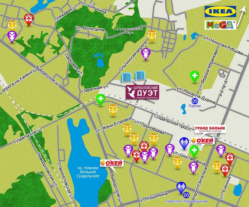 План жилого комплекса ЖК Шуваловский дуэт