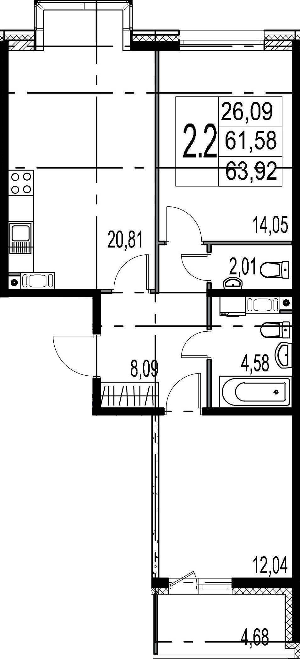 3-комнатная 66 м<sup>2</sup> на 6 этаже
