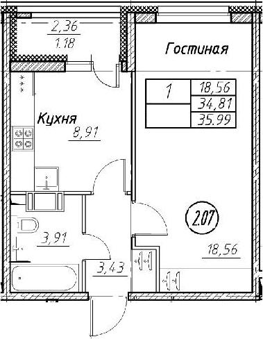 2-комнатная 37 м<sup>2</sup> на 11 этаже