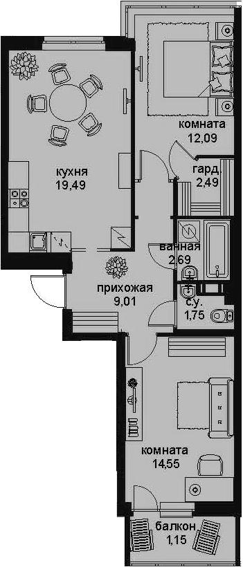 3-к.кв (евро), 65.9 м²